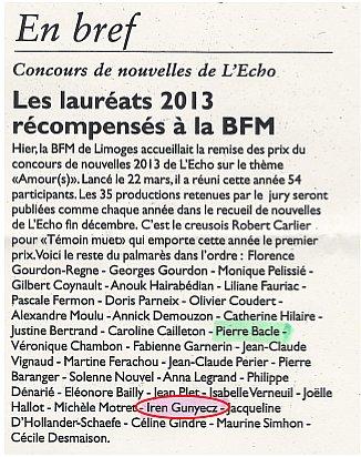 Les lauréats 2013 récompensés à la BFM Limoges concoursnouvelles1